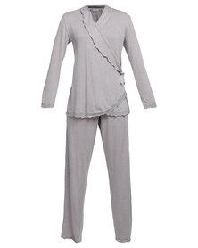 Lila Rose Lacy Cross Over Pyjama Set Grey