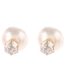 Lily & Rose Diamante Pearl Front And Back Earrings Gold-tone