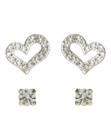 Lily & Rose 2 Pack Diamante Heart Stud Earrings Silver-Tone