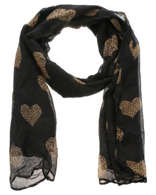 Lily & Rose Spot Heart Scarf Black