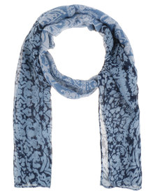 Lily & Rose Paisley Floral Border Scarf Blue