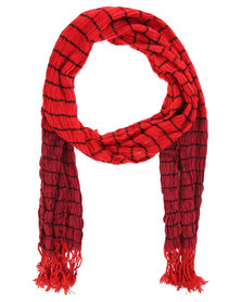 Lily & Rose Stripe Crinkle Scarf Red