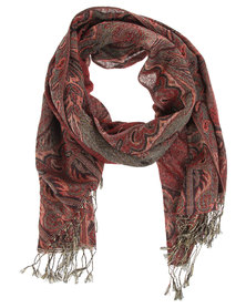 Lily & Rose Border Print Pashmina Scarf Red