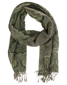 Lily & Rose Border Print Pashmina Scarf Green