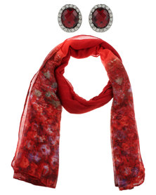 Lily & Rose Painterly Flower Scarf and Earrings Set Red