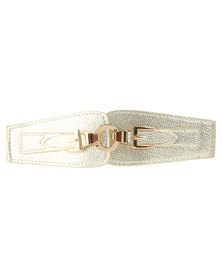 Lily & Rose Double Buckle Elasticated Waist Belt Gold-Tone