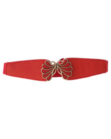 Lily & Rose Butterfly Elasticated Waist Belt Red