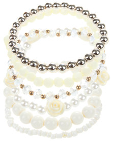 Lily & Rose Stacked Rose & Pearl Bracelet Cream