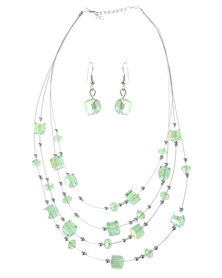Lily & Rose Emerald Green Stones Necklace and Earring Set Green