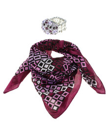 Lily & Rose Geometric Square Satin Scarf and Ring Set Purple