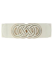 Lily & Rose Knot Buckle Elasticated Waist Belt Cream