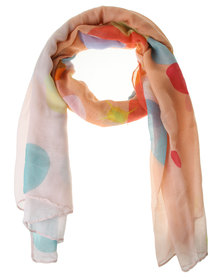 Lily & Rose Abstract Print Scarf Orange