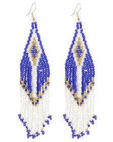 Lily & Rose Ladies Beaded Drop Earrings Blue
