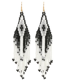Lily & Rose Ladies Beaded Drop Earrings Black and White