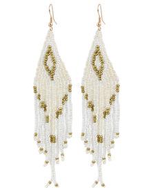 Lily & Rose Ladies Beaded Drop Earrings White