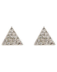 Lily & Rose Ladies Triangle Stud Earrings Silver