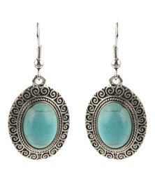 Lily & Rose Turquoise Circle Stone Drop Earrings Silver-tone