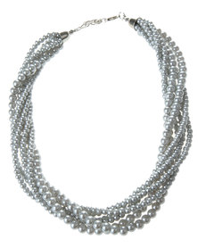 Lily & Rose Twisted Pearl Necklace Silver-Tone