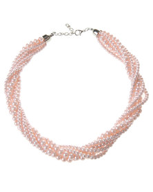 Lily & Rose Twisted Pearl  Necklace Pink