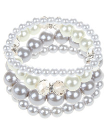 Lily & Rose Stacked Metallic Pearl Bracelet Silver