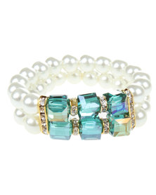 Lily & Rose Double String Pearl & Crystal Bracelet Cream/Green