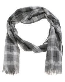 Lily & Rose Tartan Check Scarf Grey