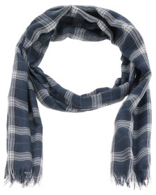 Lily & Rose Tartan Check Scarf Blue