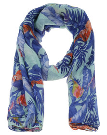 Lily & Rose Tripocal Brights Bird Print Scarf Blue