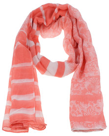 Lily & Rose Chiffon Scarf Coral And White