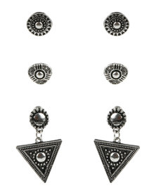 Lily & Rose Etched Stud Earrings Set Silver-tone