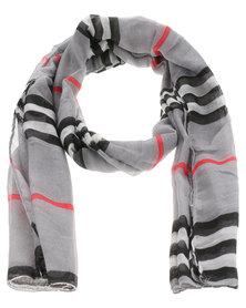 Lily & Rose Multi Stripe Scarf Grey