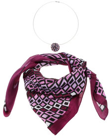 Lily & Rose Geometric Square Satin Scarf and Necklace Set Purple