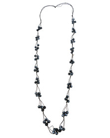 Lily & Rose Long Cluster Bead Necklace Black