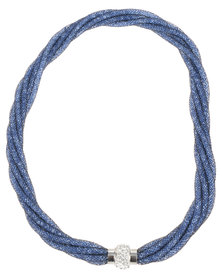 Lily & Rose Mesh Crystal Twist Necklace Electric Blue