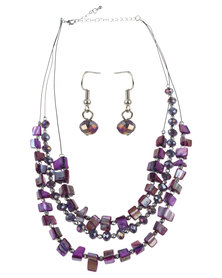 Lily & Rose Bead Necklace and Earrings Set Purple
