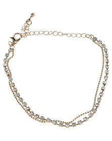 Lily & Rose Elegant Chain Bracelet with Diamante Gold