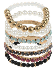 Lily & Rose 7 Pack Rhinestone & Pearl Bangle Stack Multi