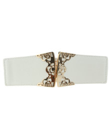 Lily & Rose Front Clip Waist Belt White