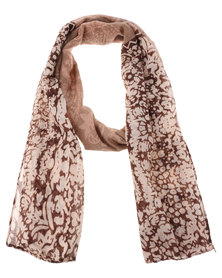 Lily & Rose Paisley Floral Border Scarf Natural
