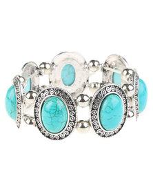 Lily & Rose Turquoise Stone Elasticated  Bracelet Turquoise/Silver-Tone