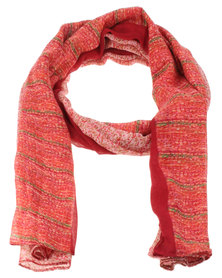 Lily & Rose Abstract Print Scarf Red
