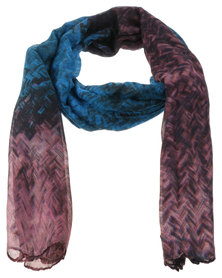 Lily & Rose Ombre Smudge Print Scarf Blue