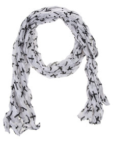 Lily & Rose Cross Print Scarf White