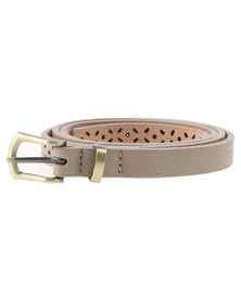 Lily & Rose Cut Out Skinny Belt Natural