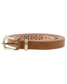 Lily & Rose Cut Out Skinny Belt Tan