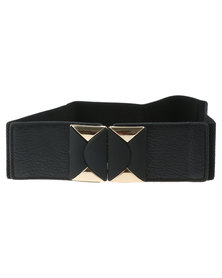 Lily & Rose Geo Wide Elasticated Waist Belt Black
