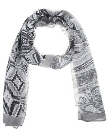 Lily & Rose  Abstract Print Scarf Grey