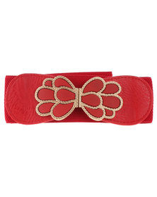 Lily & Rose Ornate Wide Elasticated Waist Belt Red