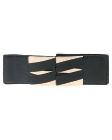 Lily & Rose Alternate Wide Elasticated Waist Belt Black