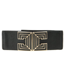 Lily & Rose CC Buckle Elasticated Waist Belt Black
